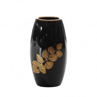 Čierno-zlatá dekoračná váza s rastlinným motívom