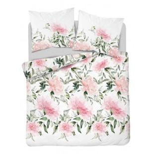Biela posteľná obliečka z bavlneného saténu s ružovými kvetmi