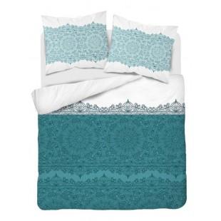 Tyrkysovo-biela posteľná obliečka z bavlneného saténu so vzorom