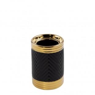 Čierno-zlatý vzorovaný svietnik