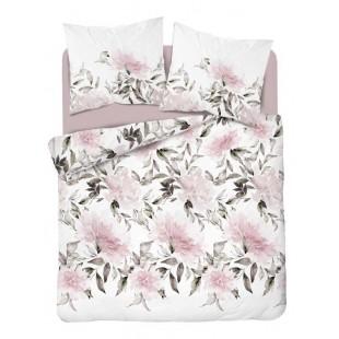 Bielo-ružová posteľná obliečka z bavlneného saténu s kvetmi