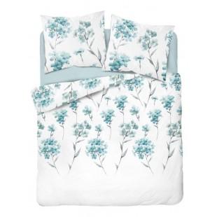 Biela posteľná obliečka z bavlneného saténu s tyrkysovými kvetmi