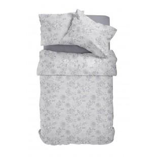 Sivá posteľná obliečka z bavlneného saténu so vzorom