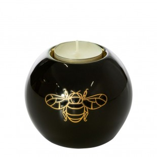 Čierno-zlatý svietnik s motívom včely