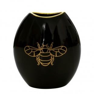 Čierno-zlatá dekoračná váza s motívom včely