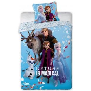 Modrá bavlnená posteľná obliečka pre deti s potlačou Frozen