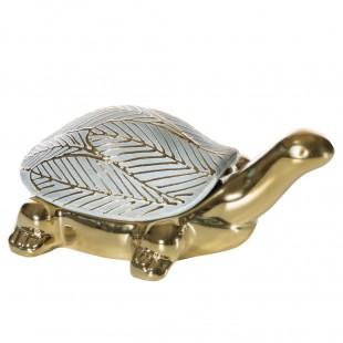 Bielo-zlatá dekoračná figúrka s motívom korytnačky