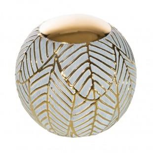 Bielo-zlatá dekoračná guľa