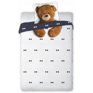 Biela bavlnená posteľná obliečka pre deti s medvedíkom