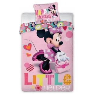 Ružová bavlnená posteľná obliečka pre deti s Minnie