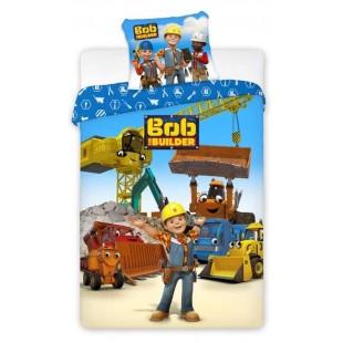 Modrá bavlnená posteľná obliečka pre deti Bob staviteľ