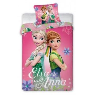 Ružová bavlnená posteľná obliečka pre deti Elsa and Anna
