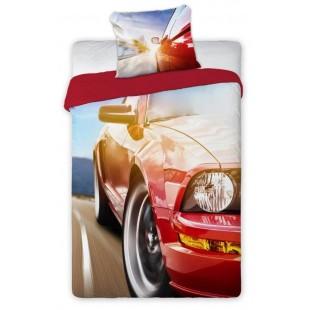 Červená bavlnená posteľná obliečka pre deti s potlačou auta