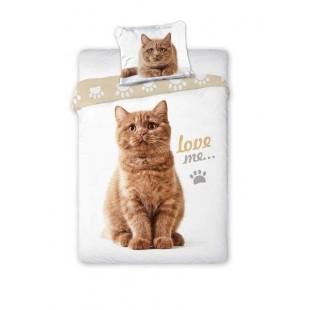 Biela bavlnená posteľná obliečka s motívom mačky