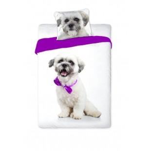 Bielo-fialová bavlnená posteľná obliečka s motívom psíka