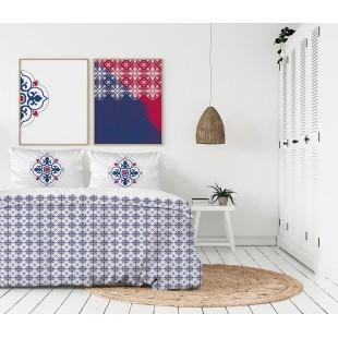 Exkluzívna biela posteľná obliečka z bavlneného saténu s modro-červeným vzorom