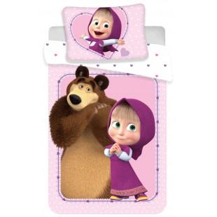 Ružová bavlnená posteľná obliečka pre deti Máša a medveď