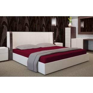Bordové posteľné prestieradlo z bavlneného saténu s gumičkou