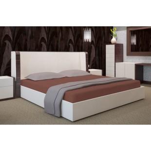 Kakaové posteľné prestieradlo z bavlneného saténu s gumičkou