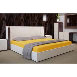 Horčicové posteľné prestieradlo z bavlneného saténu s gumičkou