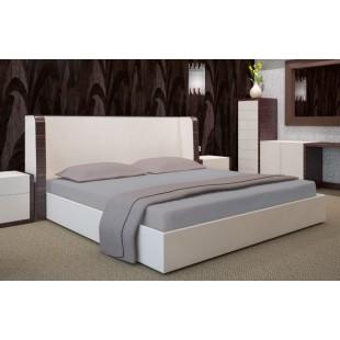 Sivé posteľné prestieradlo z bavlneného saténu s gumičkou