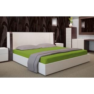 Zelené posteľné prestieradlo z bavlneného saténu s gumičkou