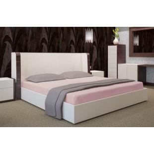 Púdrovoružové posteľné prestieradlo z bavlneného saténu bez gumičky