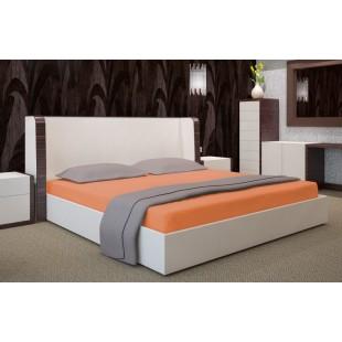 Jersey posteľná plachta s gumičkou v lososovej farbe