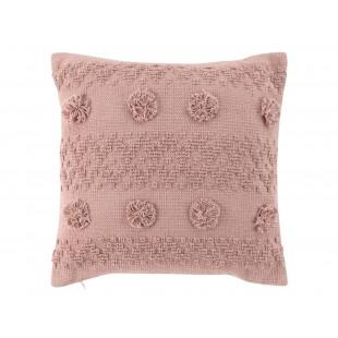 Ružový bavlnený dekoračný vankúš s bombuľkami v boho štýle