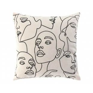 Dekoračná obliečka na vankúš so vzorom abstraktných tvárí