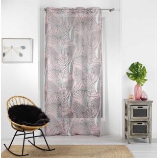 Ružová záclona s tropickým vzorom na kruhy