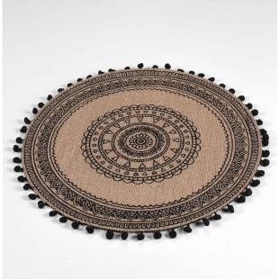 Kruhové prestieranie na stôl v boho štýle so strapčekmi