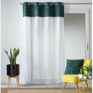Biela záclona so zeleným rastlinným motívom na kruhy