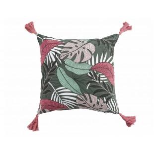Dekoračný bavlnený vankúš s tropickým vzorom a strapčekmi