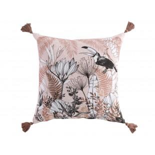 Dekoračný bavlnený vankúš s prírodným motívom a strapčekmi