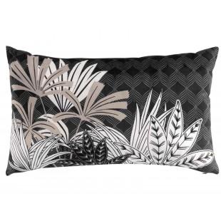 Čierny zamatový dekoračný vankúš s rastlinným motívom