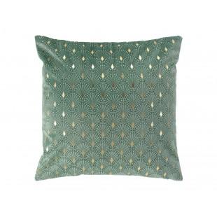 Zelená zamatová obliečka na vankúš so zlatým vzorom