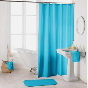 Modrý kúpeľňový záves na háčiky