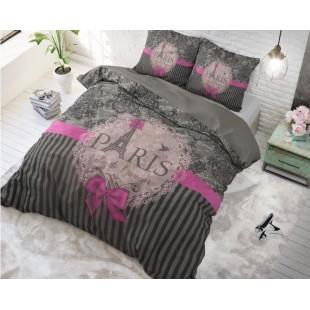 Sivá bavlnená posteľná obliečka s nápisom Paris