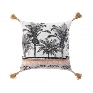 Biela dekoračná obliečka na vankúš s palmami a strapčekmi