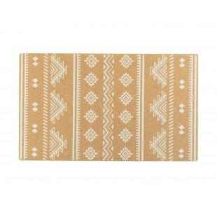 Korkový koberček s bielym geometrickým vzorom