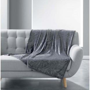 Tmavosivá zamatová deka s rastlinným motívom