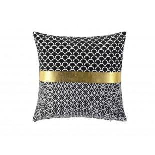 Čierna dekoračná obliečka na vankúš so zlatým pásom