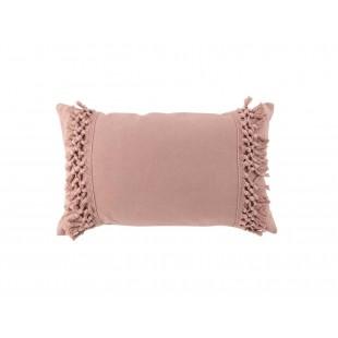 Ružový bavlnený dekoračný vankúš so strapčekmi