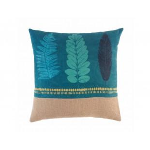 Tyrkysový dekoračný vankúš s rastlinným motívom