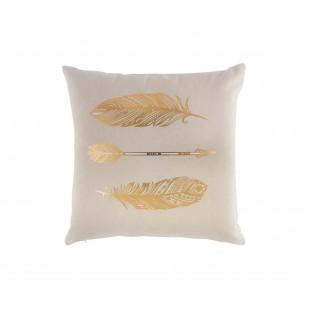 Béžový dekoračný vankúš s motívom zlatých pierok