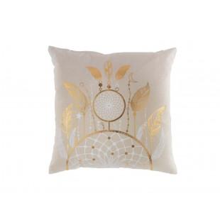 Béžový dekoračný vankúš so zlatým motívom
