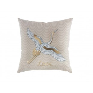 Béžový dekoračný vankúš so zlatým motívom a vtáčikom
