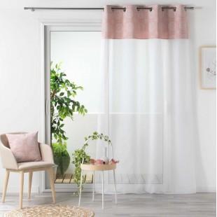 Biela záclona s ružovým ozdobným pásom na kruhy