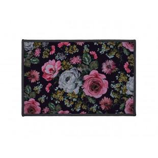 Čierny dekoračný koberček s kvetinovým motívom